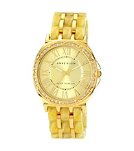 Anne Klein® Women's Goldtone Horn Plastic Bracelet Watch