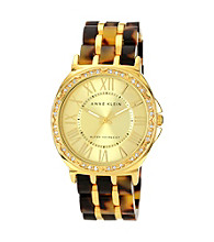 Anne Klein® Women's Goldtone Tortoise Plastic Bracelet Watch