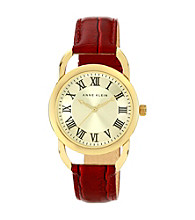 Anne Klein®Women's Goldtone Berry Leather Strap Watch