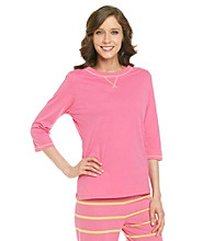 Jockey® Knit 3/4 Sleeve Top - Bright Pink