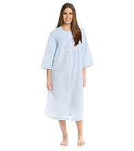 Miss Elaine® Plus Size Seersucker Long Zip Robe - Blue