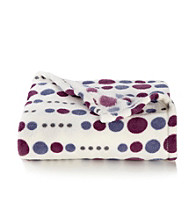 LivingQuarters Micro Cozy Purple Dot Throw