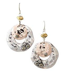 Laura Ashley® Tritone/Rosegoldtone Drop Earrings