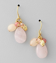 Lauren Ralph Lauren Rose Quartz/Goldtone Cluster Earrings