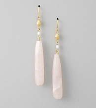 Lauren Ralph Lauren Rose Quartz/Goldtone Linear Earrings