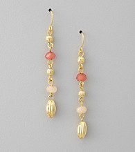 Lauren Ralph Lauren Rose Quartz/Goldtone Multi Bead Linear Earrings