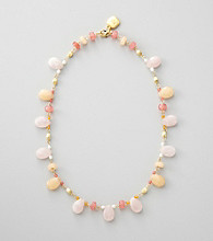 Lauren Ralph Lauren Rose Quartz/Goldtone Multi Bead Necklace