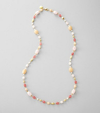 Lauren Ralph Lauren Rose Quartz/Goldtone Multi Bead Illusion Necklace