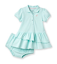 Little Me® Baby Girls' Aqua Short Sleeve Butterfly Polo Dress