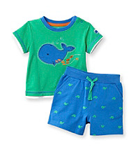 Little Me® Baby Boys' Green Whale Schiffli Shorts Set