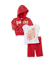 Nannette® Baby Girls' Red Sweet Hoodie and Capri Set