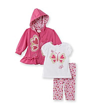 Nannette® Baby Girls' Pink Butterfly Hoodie and Capri Set