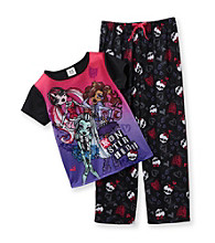 Monster High® Girls' 6-12 Pink/Black 2-pc. Printed Pajama Set