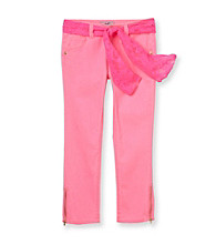 Jolt® Girls' 7-16 Pink Zipper Hem Ankle Jeans with Lace Belt