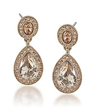 Carolee® Topaz Crystal Double Drop Earrings
