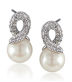 Carolee® Crystal Knot Pearl Earrings