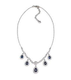 Carolee® Simply Blue & Silvertone Crystal Teardrop Necklace