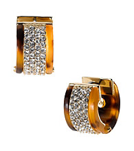 Michael Kors® Tortoise Huggie Earrings with Pave Crystals