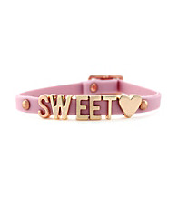 BCBGeneration™ Lilac and Rosegold Sweet Heart Rubber Mini Affirmation Bracelet