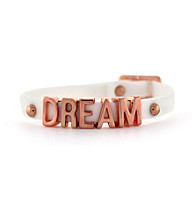 BCBGeneration™ White and Rosegold Dream Rubber Mini Affirmation Bracelet