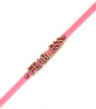 BCBGeneration™ Pink and Rosegold Fearless Rubber Mini Affirmation Bracelet