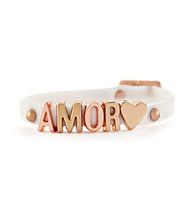 BCBGeneration™ White and Rosegold Amor Rubber Mini Affirmation Bracelet