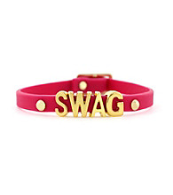 BCBGeneration™ Fuschia and Gold Swag Rubber Mini Affirmation Braclet