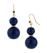 Kenneth Cole® Goldtone & Blue Round Bead Double Drop Earrings