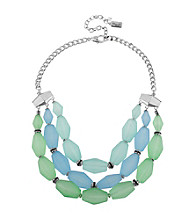 Kenneth Cole® Silvertone & Blue/Green Faceted Bead Three Row Necklace
