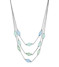 Kenneth Cole® Silvertone & Blue/Green Faceted Bead Illusion Necklace