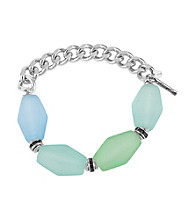 Kenneth Cole® Silvertone & Blue/Green Faceted Bead Half Stretch Bracelet