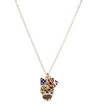 Betsey Johnson® Goldtone & White Skull Pendant Necklace