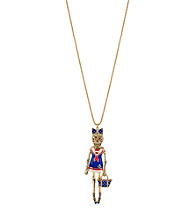 Betsey Johnson® Goldtone & Blue Sailor Skull Pendant Long Necklace