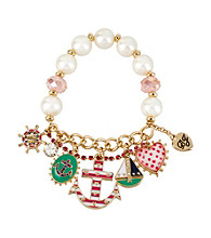 Betsey Johnson® Goldtone Anchor Multi Charm Half Stretch Bracelet