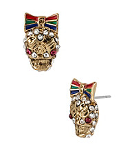 Betsey Johnson® Goldtone Skull Stud Earrings