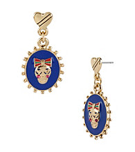 Betsey Johnson® Goldtone & Blue Oval Skull Drop Earrings