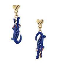 Betsey Johnson® Goldtone & Blue Alligator Drop Earrings