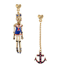 Betsey Johnson® Goldtone & Blue Sailor Skull & Anchor Mismatch Earrings