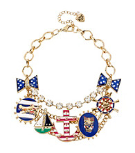 Betsey Johnson® Goldtone Anchor Multi Charm Frontal Necklace