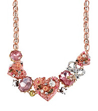 Betsey Johnson® Rose Goldtone & Silvertone Vintage Heart Frontal Necklace