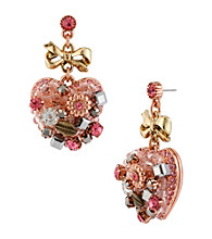 Betsey Johnson® Rose Goldtone, Goldtone & Pink Vintage Heart Drop Earrings