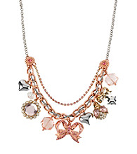 Betsey Johnson® Rose Goldtone, Silvertone & Pink Bow Multi Charm Frontal Necklace