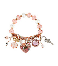 Betsey Johnson® Rose Goldtone, Silvertone & Pink Vintage Heart Multi Charm Half Stretch Bracelet