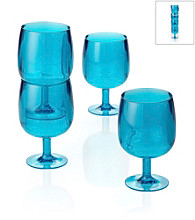 LivingQuarters 4-pc. Aqua Acrylic Wine Glasses