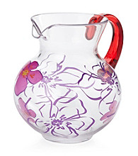 LivingQuarters Samba Clear Pitcher with Floral Pattern