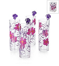 LivingQuarters 4-pc. Tall Clear Cups with Floral Themed Stirrers