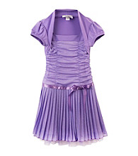 Amy Byer Girls' 4-6X Purple Glitter Shrug Dress