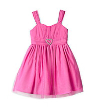 Amy Byer Girls' 4-6X Hot Pink Glitter Mesh Dress