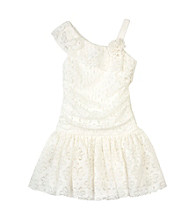 Amy Byer Girls' 4-6X Ivory One-Shoulder Lace Dress