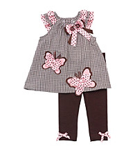 Rare Editions® Girls' 2T-4T Brown/Pink 2-pc. Butterfly Seersucker Set